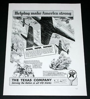 1942 Old Wwii Magazine Print Ad, Texaco, Wartime Fighter Aircraft Art Faster!