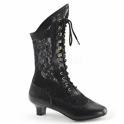 Womens Black Lace Victorian Colonial Costume Boots Shoes