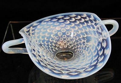 Early Opalescent Handled Small Bowl Nappy Dish Ground Pontil Hobnail White 1408