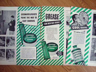 1944 Mennen Lather Shave Ad Lot of 3 Ads