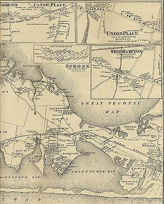 Hampton Bays  NY 1873  Map with Homeowners Shown