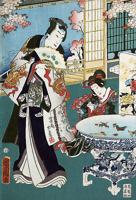 Asian POSTER.Stylish Graphics. Two Oriental Ladies. Room Art Decor. 1205