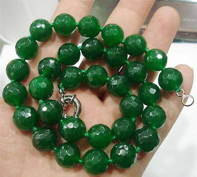 12mm Natural Emerald Faceted Beads Necklace 18""
