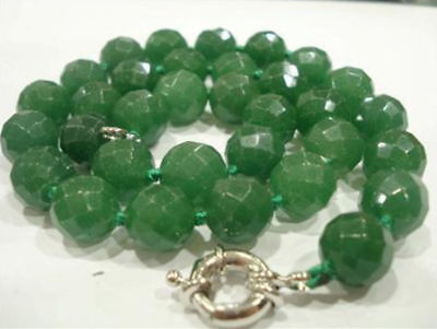 Stunning!12mm Green Emerald Faceted Round Necklace 18""