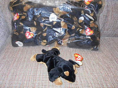 "Ty Beanie Babies WHOLESALE ONE DOZEN - ""Doby"" the Doberman-Ret in original bag"