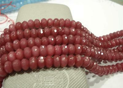 5x8mm Faceted Pink Ruby Gemstone Loose Beads 15''