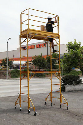 Stand at 12 Feet High  W/ Guard Rail aka Metaltech Multi Scaffold Rolling Tower
