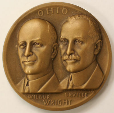 Bronze high relief Ohio Wright Brothers Medal, Medallic Art Company