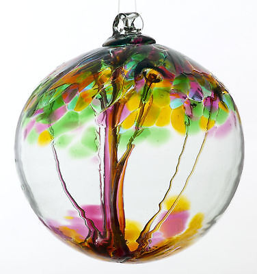 """Kitras TREE OF ENCHANTMENT 'GIVING' WITCH BALL 5""""+ Hand Blown Art Glass Ornament"""
