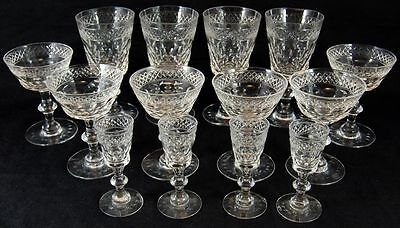 Lot (14) Hawkes Champagne Shot Glass Sherbet Stems Cordials Water Goblet Clear