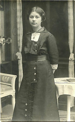 Portrait Of A Young Women & Vintage Real Photo Postcard