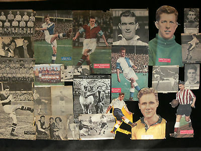 1950's Footballers - 55 Autographed Magazine Cuttings