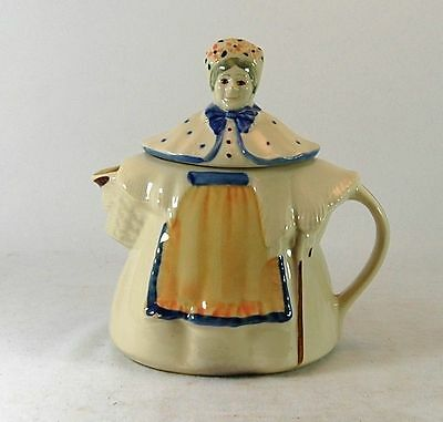 Vintage Shawnee USA Made Granny Ann Teapot Art Pottery Orange Apron Blue Trim