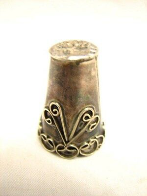 Early Ornate Silver Plate Sewing Thimble Victorian