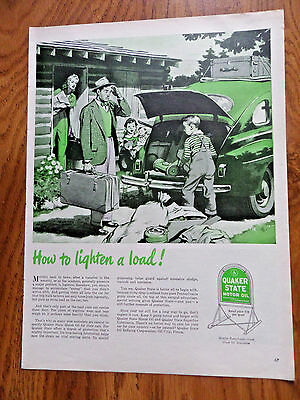 1945 Quaker State Motor Oil Ad Chevy Olds Ford Plymouth