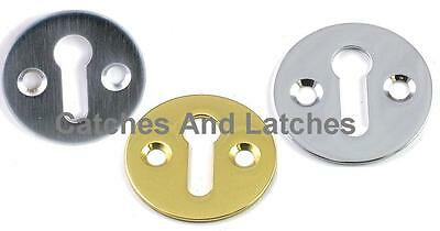 Escutcheon Door Keyhole Plate + Fixings Brass or Chrome
