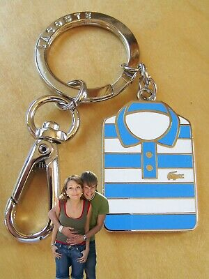 New Authentic LACOSTE Enamel KEYRING KEY FOB Charm Polo Shirt Blue