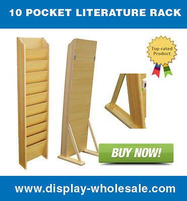 10 Pocket Wooden Magazine/ Literature Rack Wall Mount