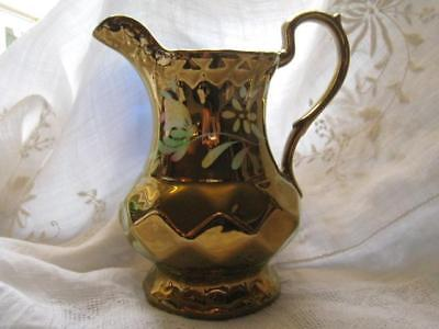ANTIQUE  1900's WADE ENGLAND GOLD LUSTERWARE PITCHER HAND PAINTED FLOWERS