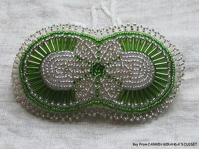 Cute Green Dragonfly Handcrafted Peyote Large Beaded Barrette
