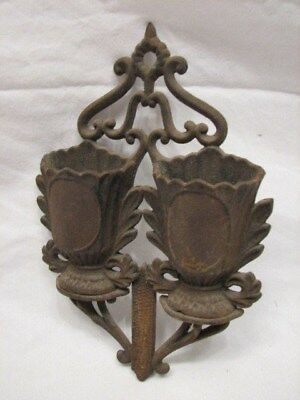 Antique Victorian Cast Iron Double Pocket Holder Match Safe Kitchen Tool
