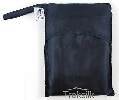 NAVY BLUE Extra Large Single Silk Liner Sleeping Sack Travel Hostel Sheet