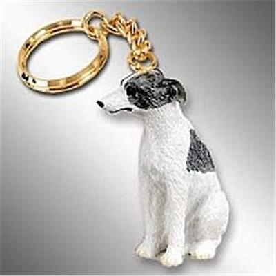 Whippet Gray White Stone Resin Key Ring Free Items a4u