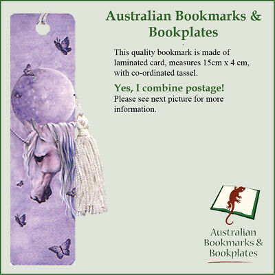Moonlit Unicorn bookmark with tassel