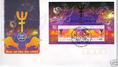 Christmas Island 1997 Year of the Ox MS FDC