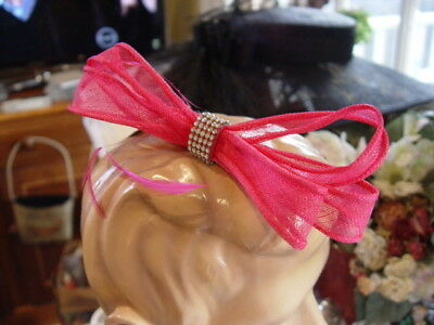 JENDI HOT PINK FUCHSIA FASCINATOR with DIAMONTES