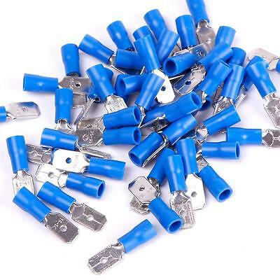 30 X 6.3Mm Blue Male Tab Insert Crimp Connectors Terminals Wire Cable