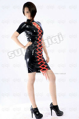 Latex/Rubber 0.45mm String Dress Lace up Catsuit Skirt