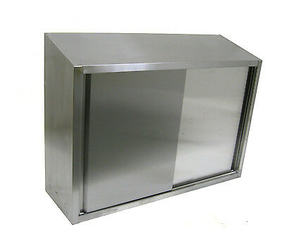 ACE CWD-1548 15x48x35 Stainless Steel Slope Top Wall Cabinet with Sliding Doors