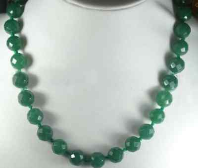 Stunning!12m Green Emerald Faceted Round Necklace 17.5""