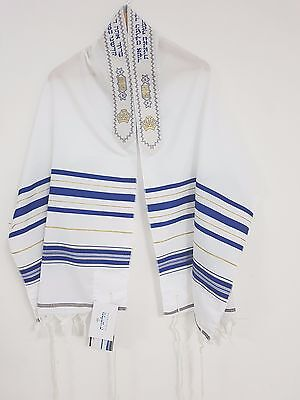 Tallit Talit Acrylic Messianic PRAYER SHAWL 18X72 Gold/Blue kOSHER + GIFT NEW