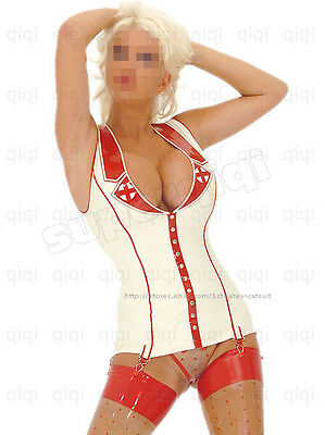 Latex/Rubber 0.8mm Clinic Nurse Top catsuit suit garter