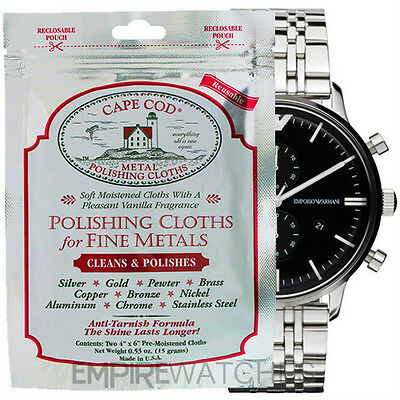 *new* Cape Cod Fine Metal Polishing Cloth For Stainless Steel Watch - Pack Of 2