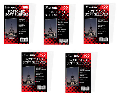 (500 Count) Ultra Pro Postcard Sleeves Archival Safe (5 Packs) Acid Free No PVC