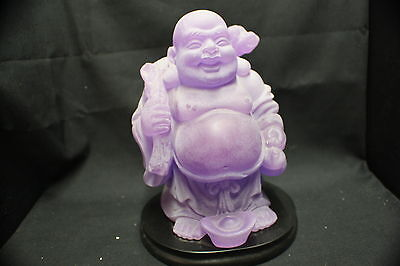 NEW Frosted Purple Buddha on black stand 170mm TALL