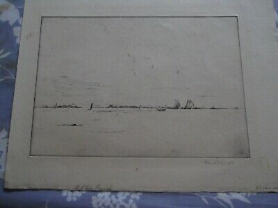 John A. Dix etching old rare signed print seascape 1924