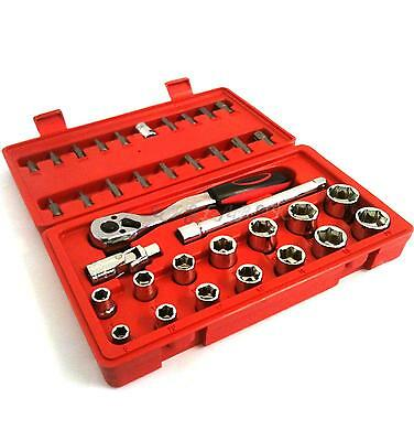 "36PC Ratchet Socket Wrench Set Metric Star Driver Bits & Case 3/8"" Square Drive"