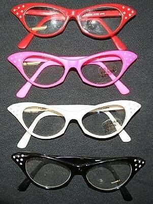 50's Rhinestone Cat Eye Glasses with Clear Lens