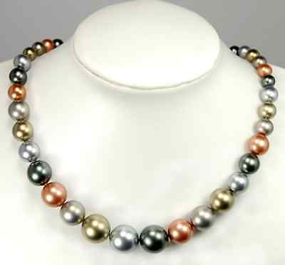 """8-16mm Multicolor Shell Pearl Graduated Beads 18.0"""""""