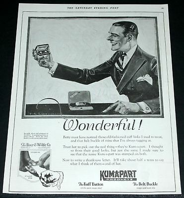 1922 Old Advertising Print Ad, Kum-A-Part Button Cuff Links & Belts, Wonderful!