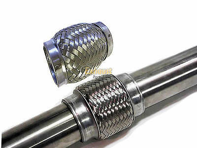 """6"""" long x 2.5"""" bore Exhaust Flexi Pipe Tube Stainless Steel150mm x 63mm Flexible"""