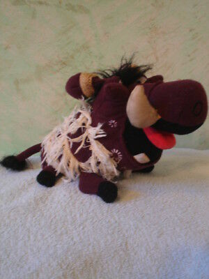 "Disney's- Lion King - ""Pumbaa"" - 6""tall plush-pellet -warrior outfit - CLEARANCE"