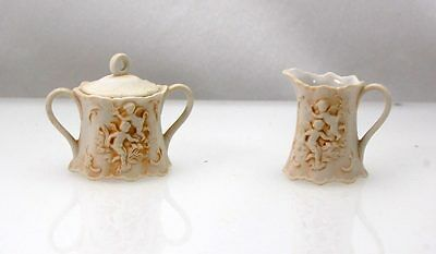 VTG Lefton Ind. Creamer Sugar Cupid Relief Cherubs White Porcelain Brown 2699
