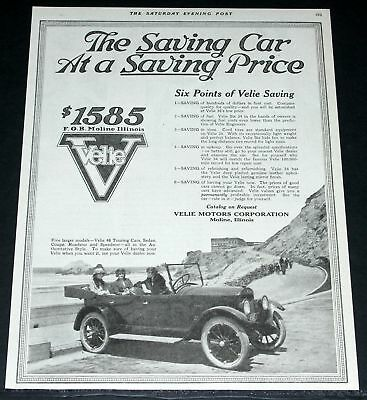 1920 Old Magazine Print Ad, Velie 48 Touring, The Saving Car!