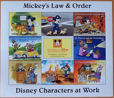 3 X Disney- Mickey's Law & Order -9 Stamp Mint Sheet.