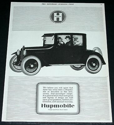 1920 Old Magazine Print Ad, New Hupmobile Four Passenger Coupe, Grace & Dignity!